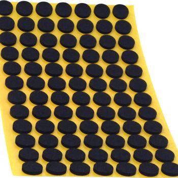 84 x almohadillas antideslizantes de caucho celular EPDM / Ø 12 mm / negro / redondas / auto-adhesivas / 2.5 mm grosor