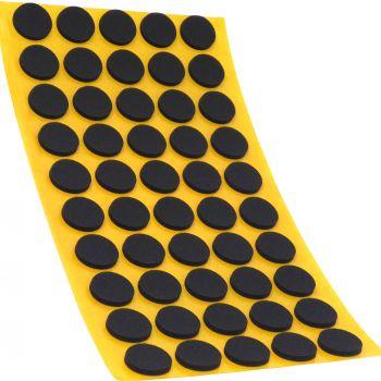 50 x almohadillas antideslizantes de caucho celular EPDM / Ø 16 mm / negro / redondas / auto-adhesivas / 2.5 mm grosor