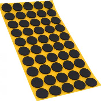 50 x almohadillas antideslizantes de caucho celular EPDM / Ø 20 mm / negro / redondas / auto-adhesivas / 2.5 mm grosor