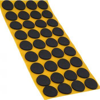 36 x almohadillas antideslizantes de caucho celular EPDM / Ø 24 mm / negro / redondas / auto-adhesivas / 2.5 mm grosor