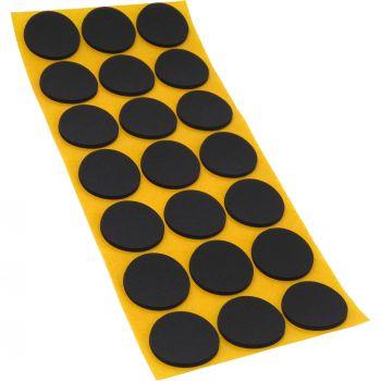 21 x almohadillas antideslizantes de caucho celular EPDM / Ø 30 mm / negro / redondas / auto-adhesivas / 2.5 mm grosor