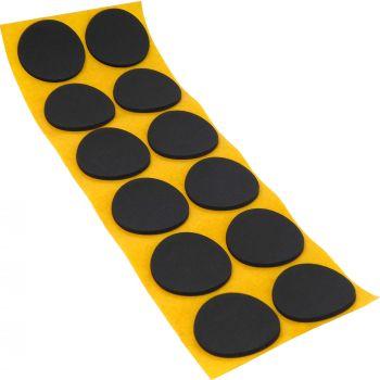 12 x almohadillas antideslizantes de caucho celular EPDM / Ø 40 mm / negro / redondas / auto-adhesivas / 2.5 mm grosor