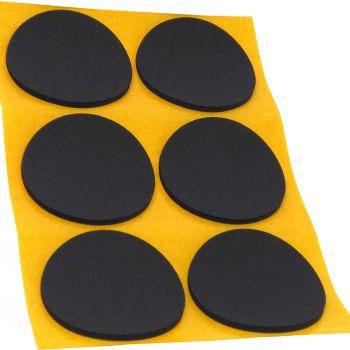 6 x almohadillas antideslizantes de caucho celular EPDM / Ø 70 mm / negro / redondas / auto-adhesivas / 2.5 mm grosor