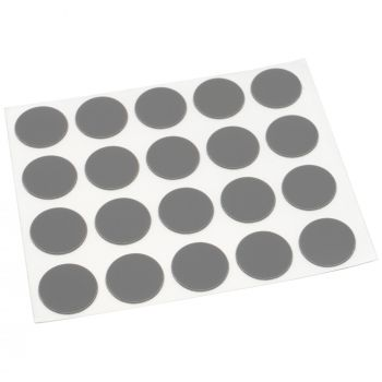 20 x cover caps   Ø 0.51'' (Ø 1,3 cm)   grey dark   round   0.018'' (0,45 mm) thin, self-adhesive furniture patches by Adsamm®