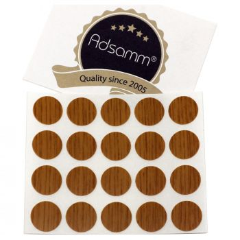 20 x cover caps   Ø 0.51'' (Ø 1,3 cm)   oak   round   0.018'' (0,45 mm) thin, self-adhesive furniture patches by Adsamm®