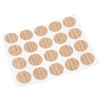20 x cover caps   Ø 0.51'' (Ø 1,3 cm)   oak light   round   0.018'' (0,45 mm) thin, self-adhesive furniture patches by Adsamm®