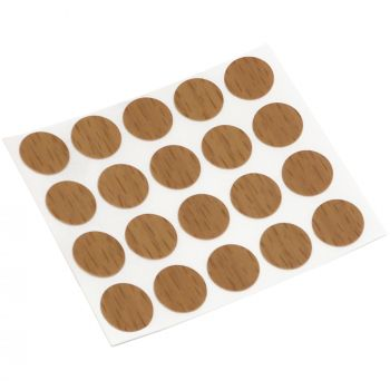 20 x cover caps   Ø 0.51'' (Ø 1,3 cm)   walnut   round   0.018'' (0,45 mm) thin, self-adhesive furniture patches by Adsamm®
