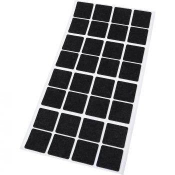 32 x almohadillas de fieltro / 25x25 mm / negro / cuadrado / Protectores de suelo para patas de mueble / auto-adhesivos / con grosor de 1,5 mm de la máxima calidad
