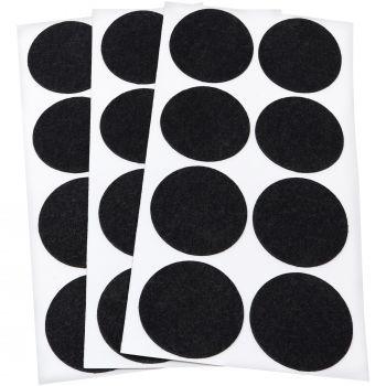 24 x almohadillas de fieltro / Ø 50 mm / negro / redondo / Protectores de suelo para patas de mueble / auto-adhesivos / con grosor de 1,5 mm de la máxima calidad