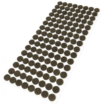 128 x almohadillas de fieltro / Ø 12 mm / marrón / redondo / Protectores de suelo para patas de mueble / auto-adhesivos / con grosor de 3,5 mm de la máxima calidad