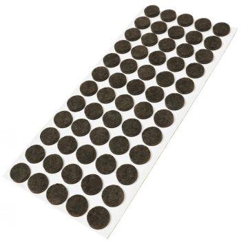 60 x almohadillas de fieltro / Ø 14 mm / marrón / redondo / Protectores de suelo para patas de mueble / auto-adhesivos / con grosor de 3,5 mm de la máxima calidad