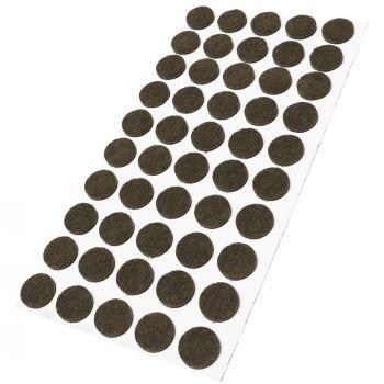 50 x almohadillas de fieltro / Ø 16 mm / marrón / redondo / Protectores de suelo para patas de mueble / auto-adhesivos / con grosor de 3,5 mm de la máxima calidad