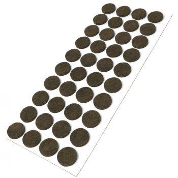 40 x almohadillas de fieltro / Ø 18 mm / marrón / redondo / Protectores de suelo para patas de mueble / auto-adhesivos / con grosor de 3,5 mm de la máxima calidad