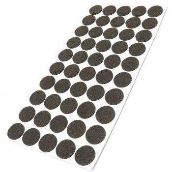 50 x almohadillas de fieltro / Ø 22 mm / marrón / redondo / Protectores de suelo para patas de mueble / auto-adhesivos / con grosor de 3,5 mm de la máxima calidad