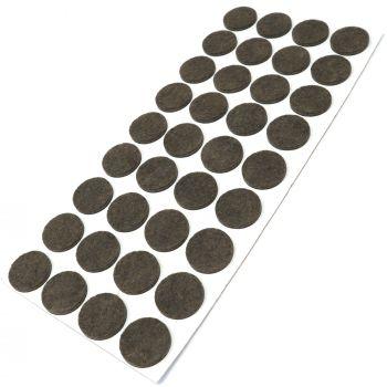 36 x almohadillas de fieltro / Ø 24 mm / marrón / redondo / Protectores de suelo para patas de mueble / auto-adhesivos / con grosor de 3,5 mm de la máxima calidad