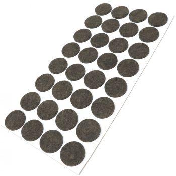 32 x almohadillas de fieltro / Ø 26 mm / marrón / redondo / Protectores de suelo para patas de mueble / auto-adhesivos / con grosor de 3,5 mm de la máxima calidad