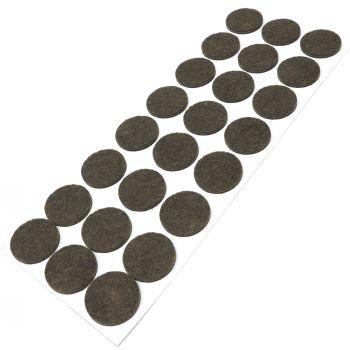 24 x almohadillas de fieltro / Ø 28 mm / marrón / redondo / Protectores de suelo para patas de mueble / auto-adhesivos / con grosor de 3,5 mm de la máxima calidad