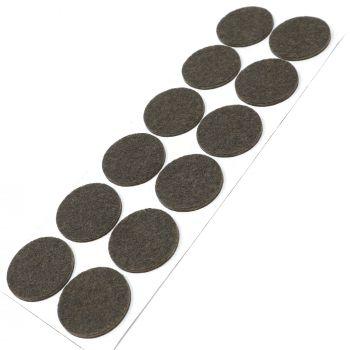 12 x almohadillas de fieltro / Ø 34 mm / marrón / redondo / Protectores de suelo para patas de mueble / auto-adhesivos / con grosor de 3,5 mm de la máxima calidad