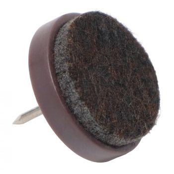 32 x Almohadillas con clavo   Ø 24 mm   marrón   redondas   Patas de muebles con clavo de la máxima calidad de Adsamm®