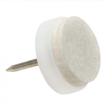 32 x Almohadillas con clavo   Ø 17 mm   blanco   redondas   Patas de muebles con clavo de la máxima calidad de Adsamm®