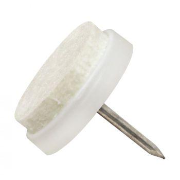 32 x Almohadillas con clavo   Ø 20 mm   blanco   redondas   Patas de muebles con clavo de la máxima calidad de Adsamm®