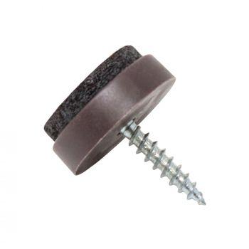 Almohadillas con tornillo | Ø 20 mm | marrón | redondas | Patas de muebles con tornillo de la máxima calidad de Adsamm®