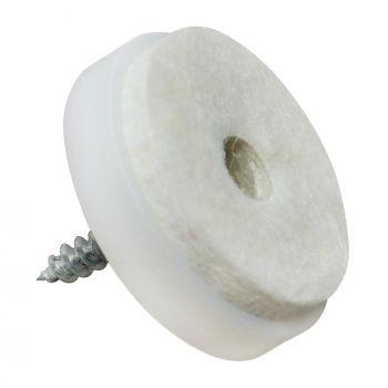 Almohadillas con tornillo | Ø 28 mm | blanco | redondas | Patas de muebles con tornillo de la máxima calidad de Adsamm®