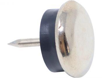 4 x Deslizante de metál con clavo y goma | Ø 18 mm | plateado | redondas | Patas de muebles con clavo de la máxima calidad de Adsamm®