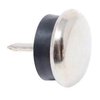 4 x Deslizante de metál con clavo y goma | Ø 20 mm | plateado | redondas | Patas de muebles con clavo de la máxima calidad de Adsamm®
