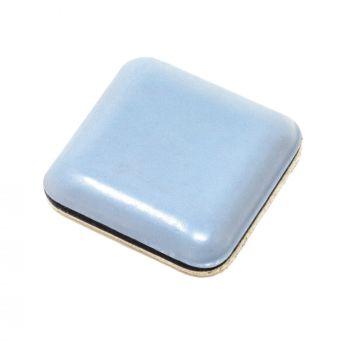 PTFE glides | 0,94'' x 0,94'' (24x24 mm) | grey-blue | square | Premium quality self-adhesive furniture sliders by Adsamm®