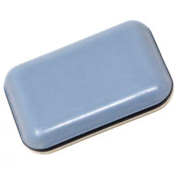 PTFE glides | 0,94'' x 1,34'' (24x34 mm) | grey-blue | angular | Premium quality self-adhesive furniture sliders by Adsamm®