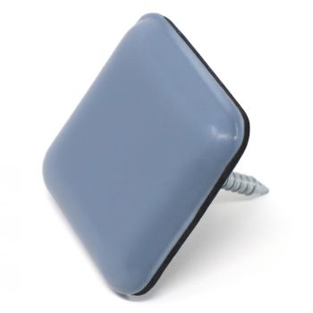 PTFE Glides with nail | 0,94'' x 0,94'' (24x24 mm) | grey-blue | square | Premium quality furniture sliders with nail by Adsamm®