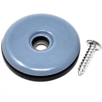 PTFE Sliders with screws | Ø 1,5'' (Ø 38 mm) | grey-blue | round | Premium quality furniture sliders with screw by Adsamm®