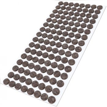 128 x almohadillas de fieltro de lana genuino | Ø 12 mm | marrón | redondo | Protectores de suelo para patas de mueble | auto-adhesivos | con grosor de 3 mm