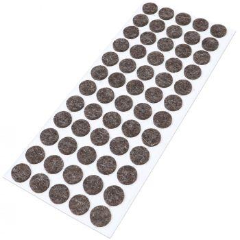60 x almohadillas de fieltro de lana genuino | Ø 14 mm | marrón | redondo | Protectores de suelo para patas de mueble | auto-adhesivos | con grosor de 3 mm