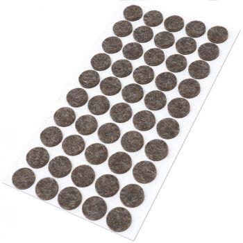 50 x almohadillas de fieltro de lana genuino | Ø 16 mm | marrón | redondo | Protectores de suelo para patas de mueble | auto-adhesivos | con grosor de 3 mm