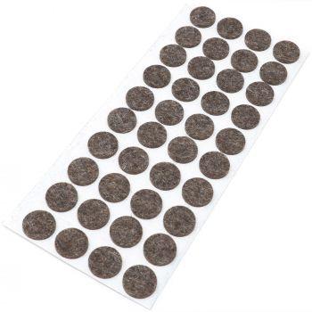 40 x almohadillas de fieltro de lana genuino | Ø 18 mm | marrón | redondo | Protectores de suelo para patas de mueble | auto-adhesivos | con grosor de 3 mm