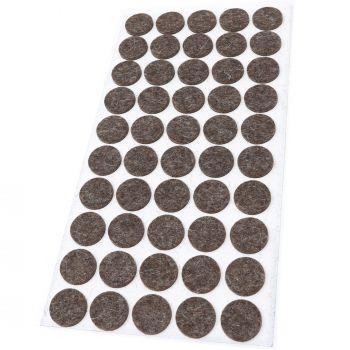 50 x almohadillas de fieltro de lana genuino | Ø 22 mm | marrón | redondo | Protectores de suelo para patas de mueble | auto-adhesivos | con grosor de 3 mm
