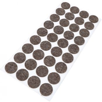 36 x almohadillas de fieltro de lana genuino | Ø 24 mm | marrón | redondo | Protectores de suelo para patas de mueble | auto-adhesivos | con grosor de 3 mm