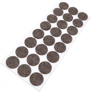 24 x almohadillas de fieltro de lana genuino | Ø 28 mm | marrón | redondo | Protectores de suelo para patas de mueble | auto-adhesivos | con grosor de 3 mm