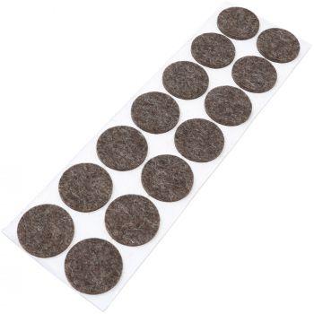 14 x almohadillas de fieltro de lana genuino | Ø 32 mm | marrón | redondo | Protectores de suelo para patas de mueble | auto-adhesivos | con grosor de 3 mm
